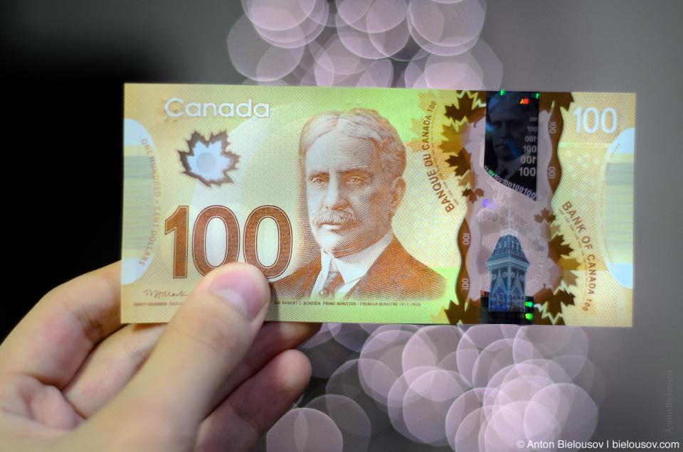 Новая пластиковая банкнота в 100 канадских долларов