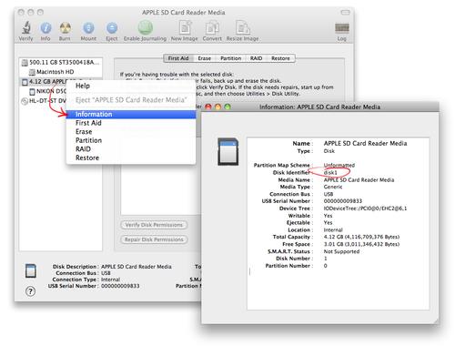Найдите в Disk Utility адрес вашей SD карточки, например, /dev/disk1