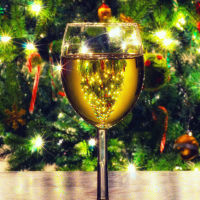 Christmas tree whirlpool in a glass of wine