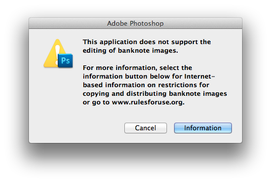 Photoshop CS5 blocks opening currency images
