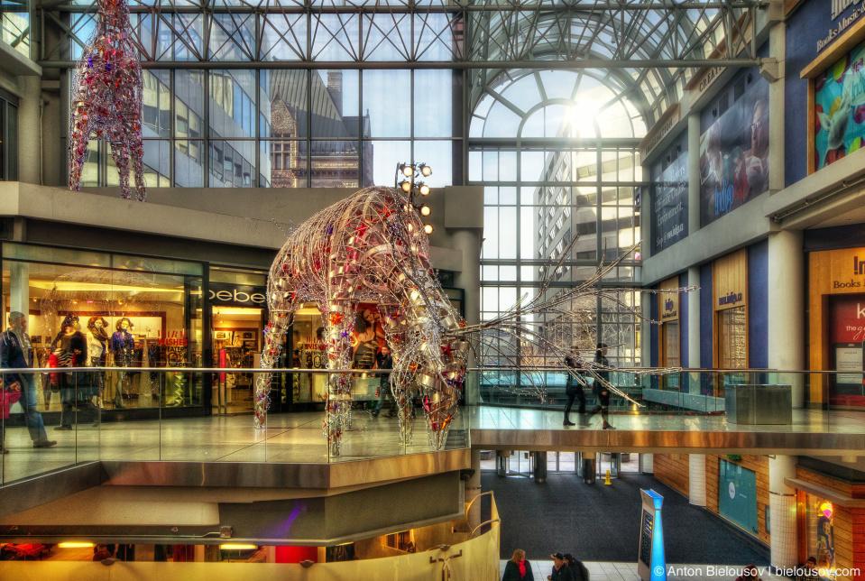Christmas reindeers in Toronto Eaton's Centre