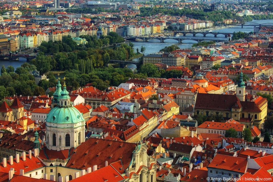 Prague bridges bird-eye view