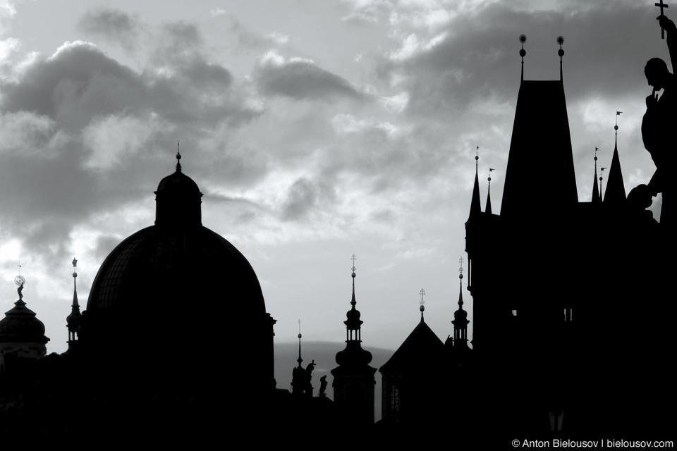 Prague — morning on Charles Bridge