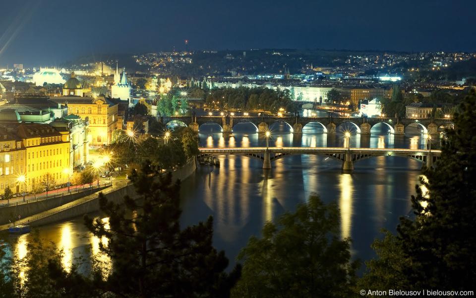 Prague bridges night panorama