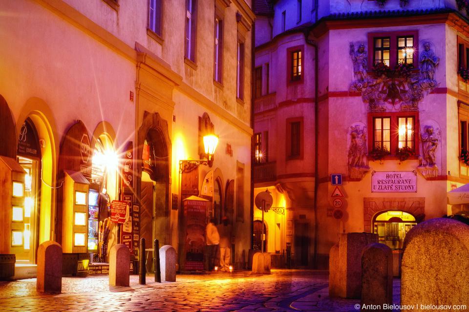 Prague street at night