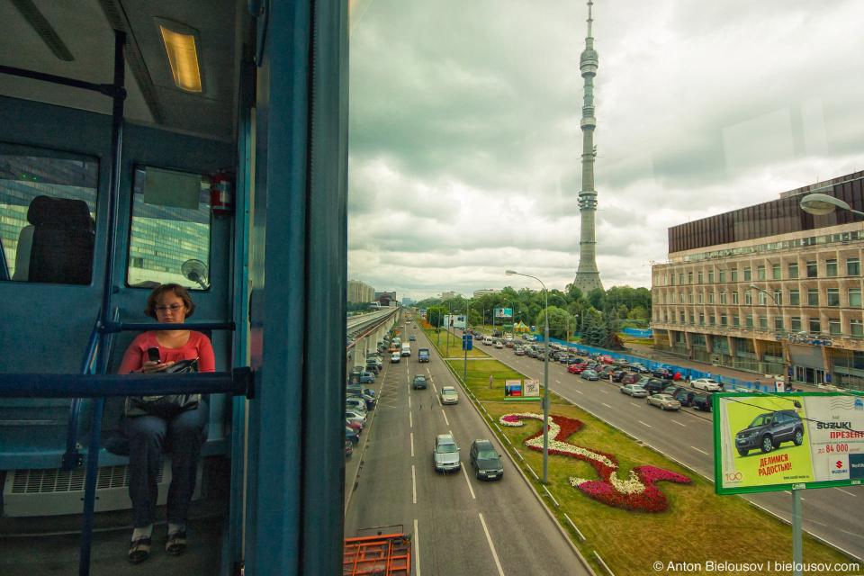 Вид на Останкинскую башню из монорельса