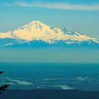 Baker Mountain in Washington, USA as seen from Grouse Mountain in Vancouver, BC