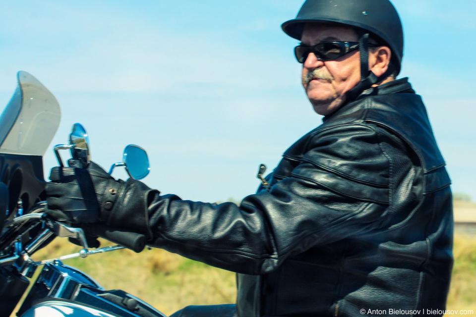 Biker on Trans-Canada Highway