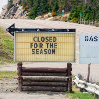 Gas station closed for the season 50 years ago in Northern Ontario, Canada