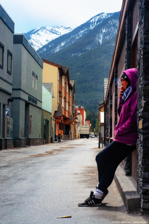 Smoking girl at Banff street