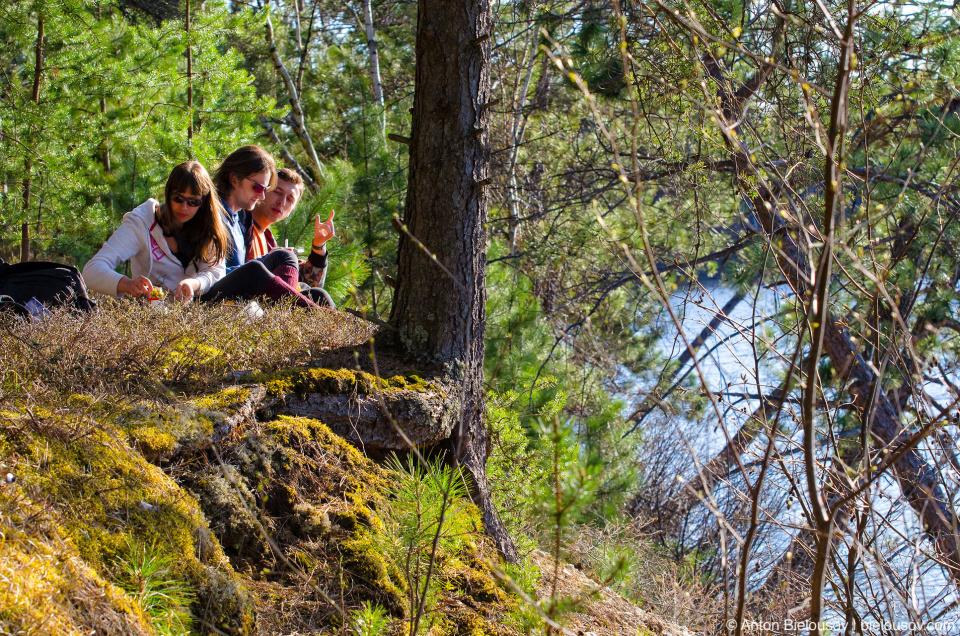 Трансканадаэтноэксп — пикник на обрывистом берегу Spanish River