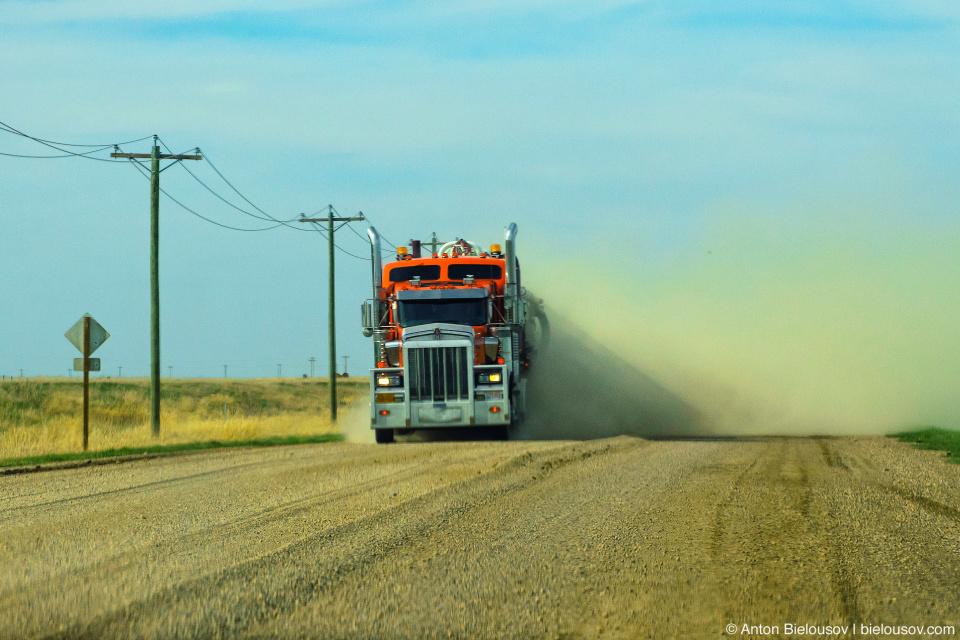 Truck in cloud of dust