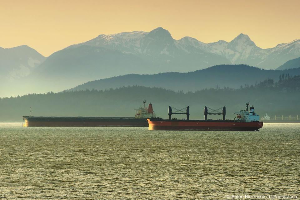 Vancouver English Bay view at dusk