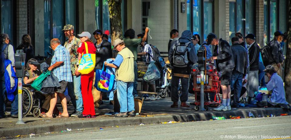 West Hastings Street junkies market in Vancouver, BC