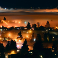 Вид из нашего окна на ночной Ванкувер