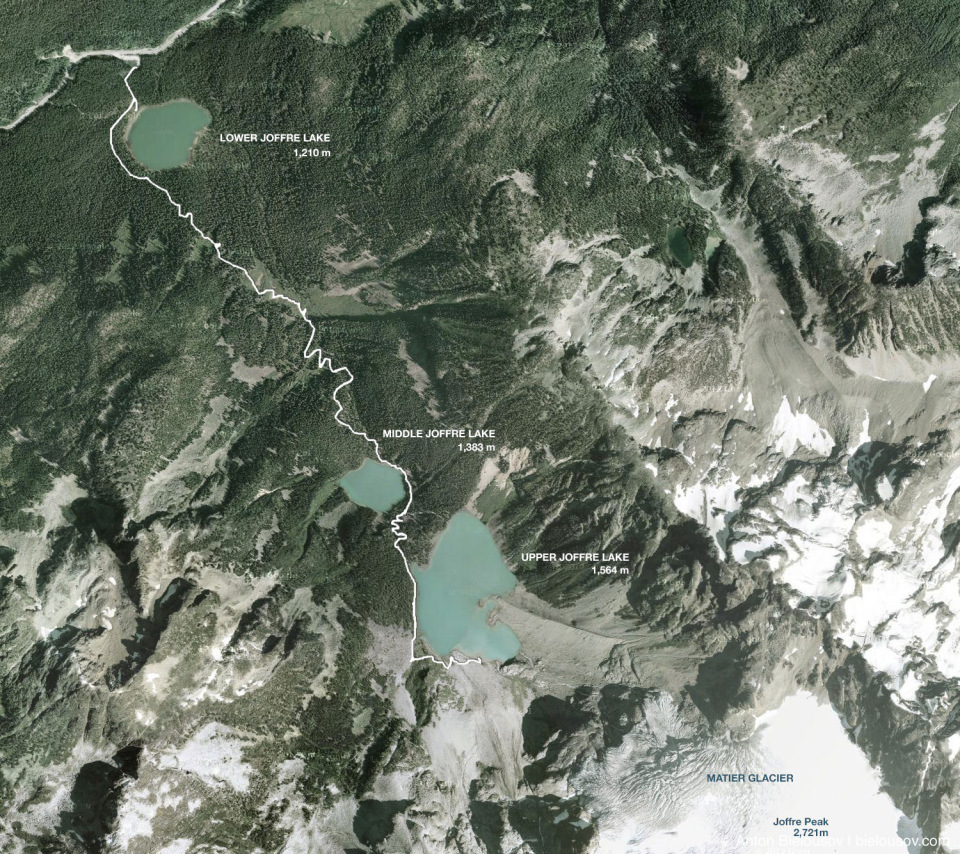 Joffre Lakes hiking trail aerial photo
