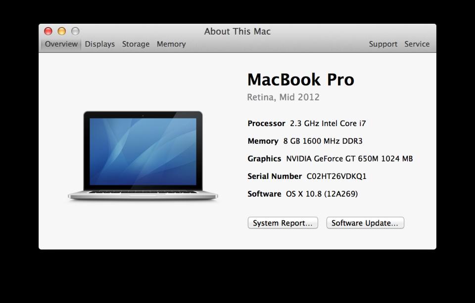 MacBook Pro Retina display about screen