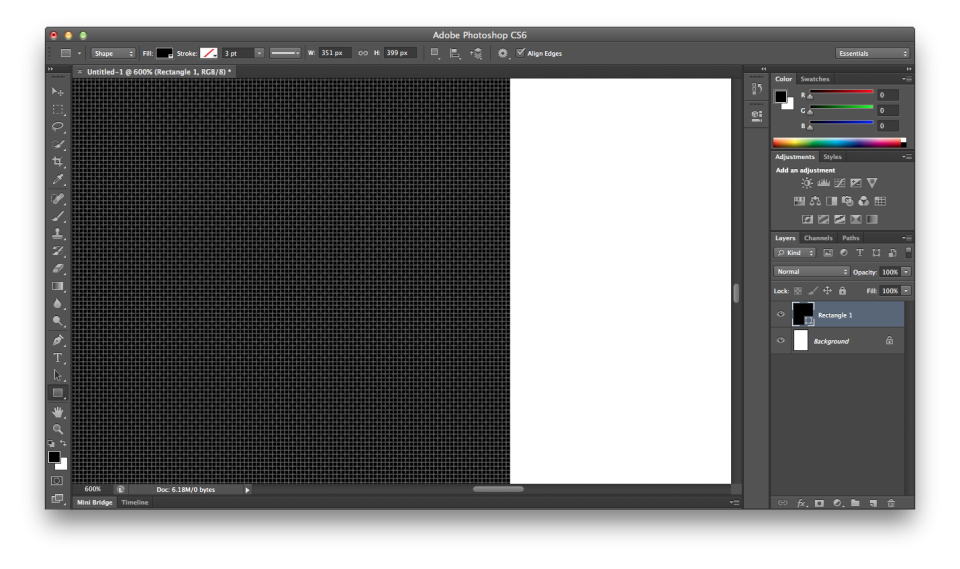 Apple MacBook Pro Retina display Photoshop CS6 pixel grid lag screenshot