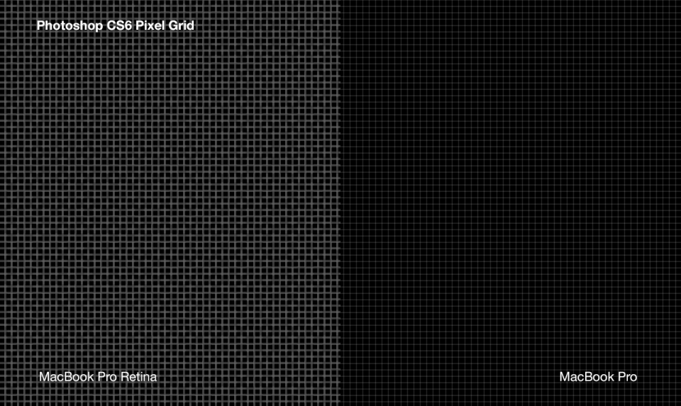 Compare Photoshop cs6 pixel grid on Apple Macbook Pro with and without Retina display