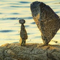 Little prince balance rocks installation at English Bay (Vancouver, Canada)