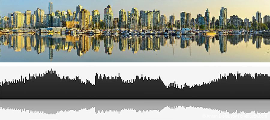 Ритм Ванкувера: силуэт города, отраженный в воде залива совпадает с волновой формой произведения Зима Allegro из цикла Времена года, Антонио Вивальди