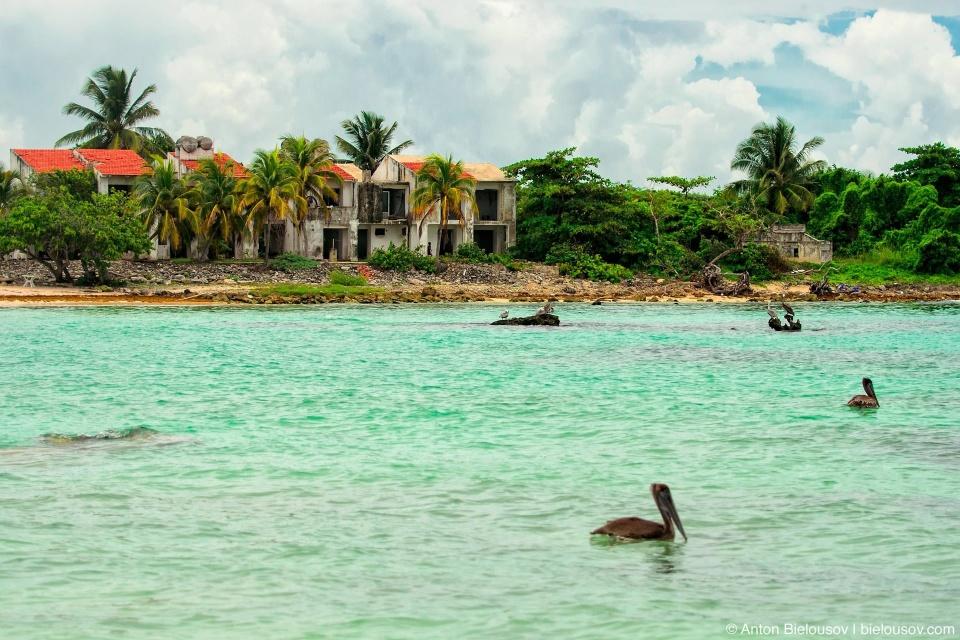 Пеликаны у заброшеного отеля в Мексике