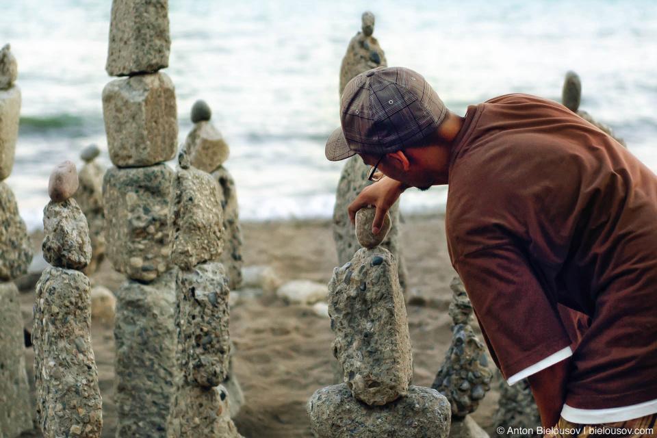 Rock balancing artist at Toronto beaches