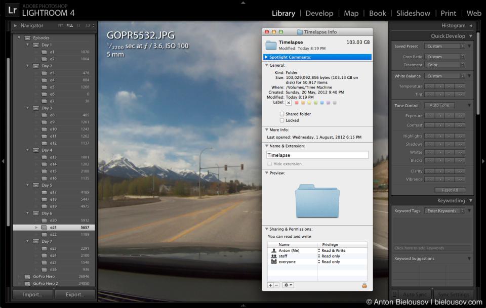Организация снимков таймлапса с GoPro в Lightroom по эпизодам