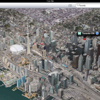 Toronto 3d satellite view in iPad ios6 maps