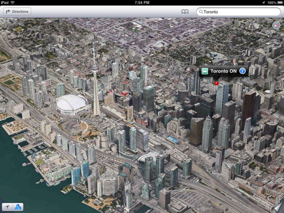 Toronto 3d satellite view in iPad ios6 maps