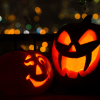 Our two 2012 halloween jack-o-lantern pumpkins