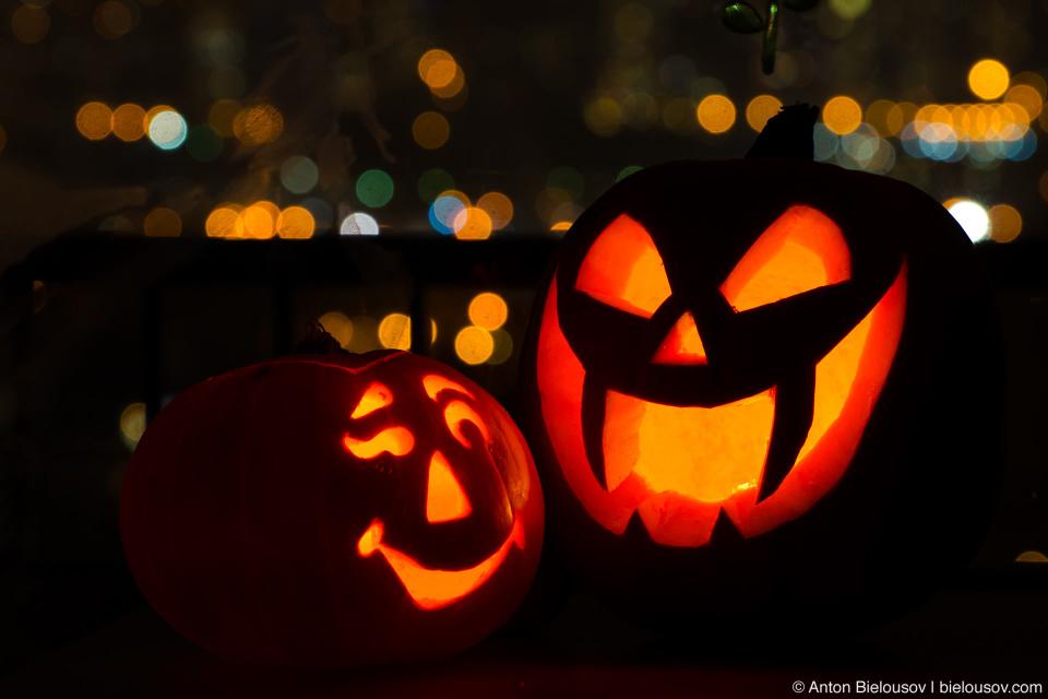 Our two 2012 halloween jack-o-lantern pumpkins