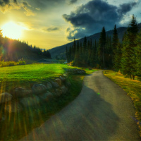 Sun Peaks sunset over golf course field (HDR)