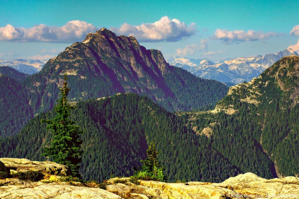 Вид с вершины Goat Mountain на Crown Mountain и горы на севере Ванкувера, которые не видно из города.