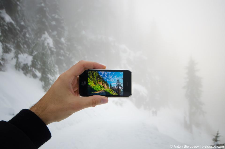 Вид на трейл на горе Grouse Mountain в июле и в ноябре