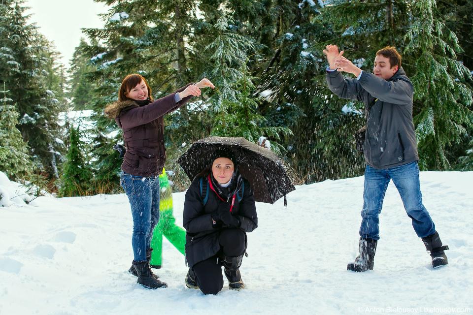 Снегопад на горе Grouse Mountain (Канада)