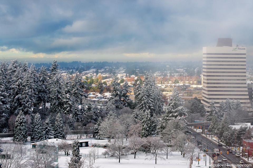 Вид на заснеженный Ванкувер из нашей квартиры в Burnaby