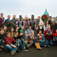 Happy Holidays from Mobify team. Group photo on the roof (Gastown, Vancouver BC)