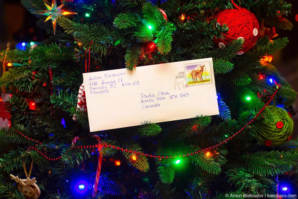Письмо Санте на атрес North Pole, HOH OHO Canada