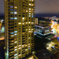Evacuated high-rise apartment building at 4277 Grnage St.: light and even TVs are on, but no movement in windows at all.