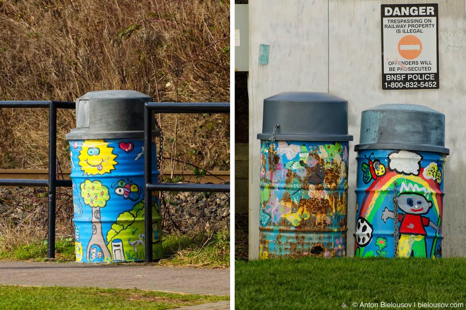 Разукрашенные мусорные бочки в Уайт-роке