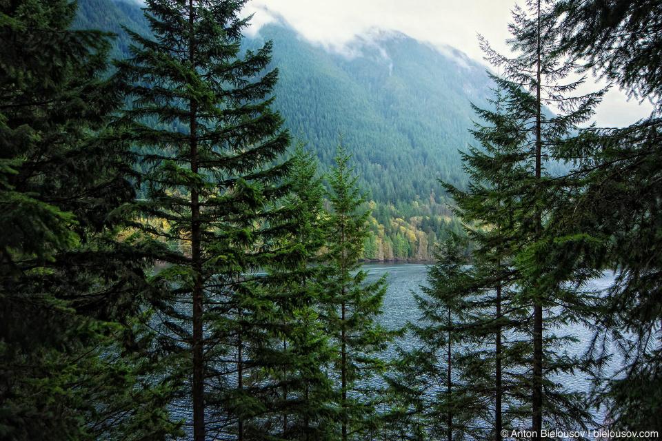 Вид на озеро Buntzen Lake с трейла