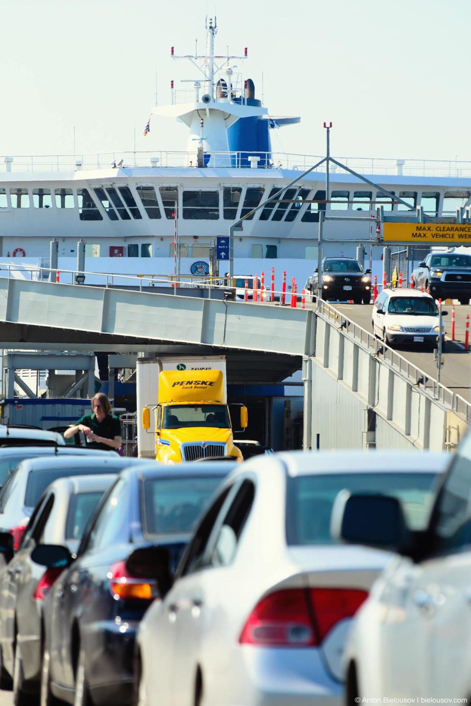Выгрузка сразу с двух палуб и очередь на погрузку на паром на терминале Тсаввассен (Ванкувер)