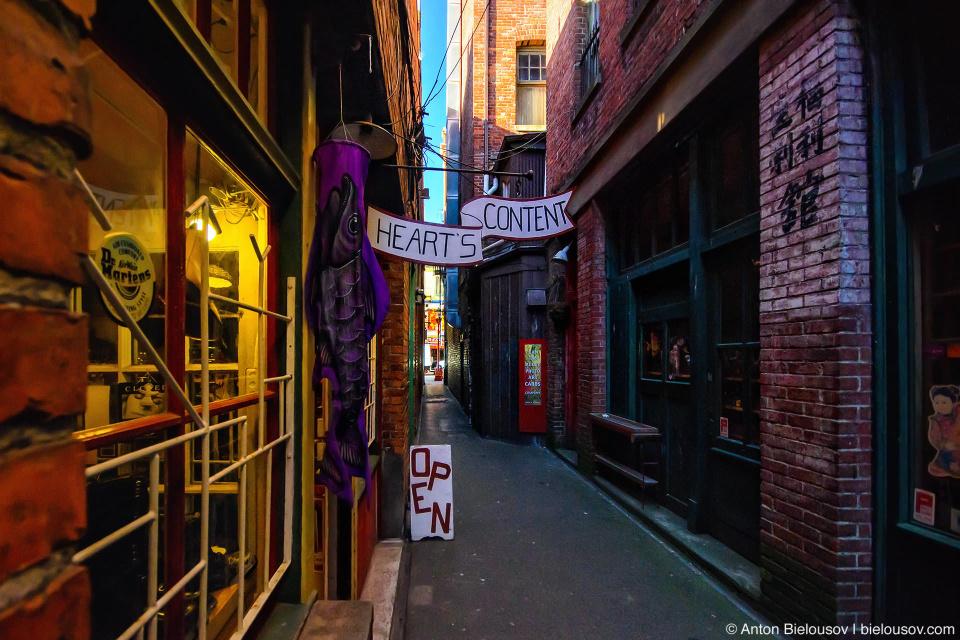Аллея Фан Тан (Fan Tan Alley) — самая узкая улица в Канаде, где вместо опиумных притонов, подпольных игорных заведений и барделей теперь кое-что пострашнее — сувенирные магазины.