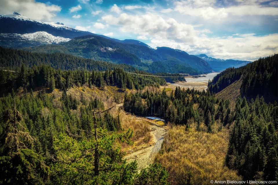 Brandywine Falls Provincial Park вид на долину озера Daisy Lake (Whistler, BC)
