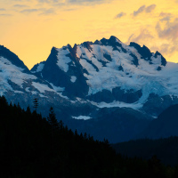 Glaciers on sunset at Sea to Sky Highway lookout