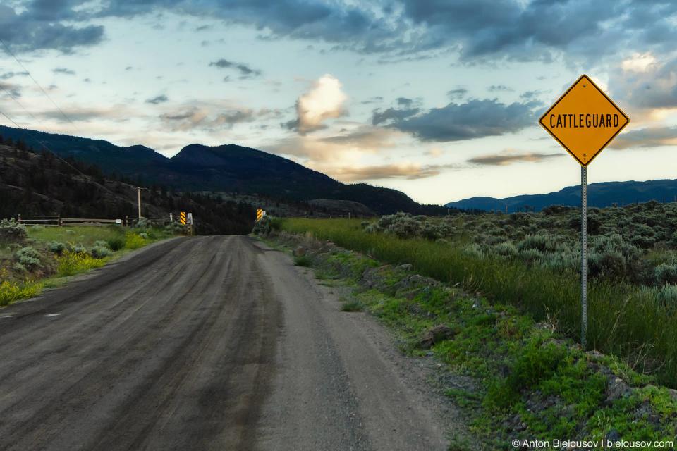 Cattleguard sign in Ashcroft, BC