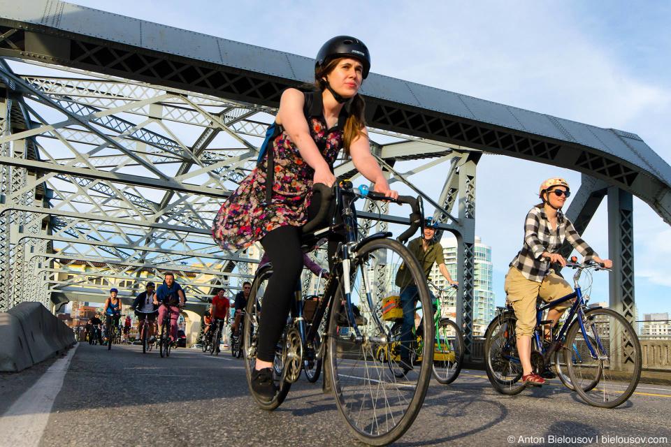 Critical Mass at Burard Bridge in Vancouver, BC