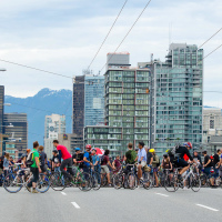 Critical Mass blocking Granville Bridge in Vancouver, BC