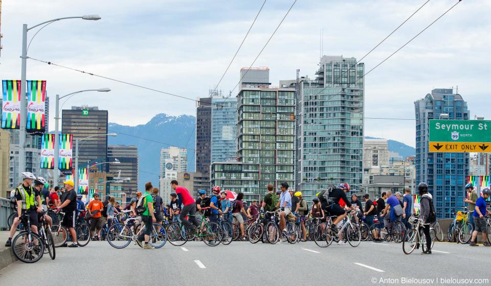 Critical Mass blocking Granville Bridge in Vancouver, BC